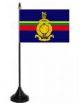 Royal Marines Desk / Table Flag with plastic stand and base.